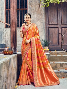 Picture of Multicolor Silk Zari Wedding & Bridal Designer Saree