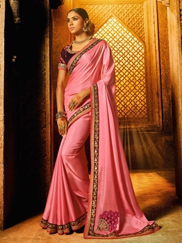 Picture of Pink Satin Embroidery Designer Saree