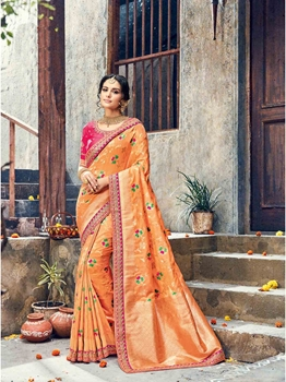 Picture of Peach Silk Zari Wedding & Bridal Designer Saree