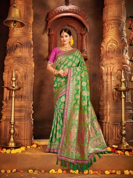 Picture of Green Silk Embroidery Designer Saree