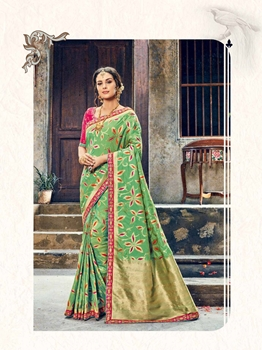 Picture of Green Silk Zari Wedding & Bridal Designer Saree