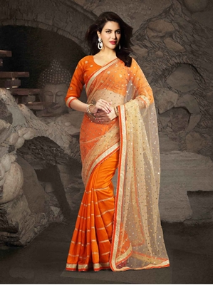 Picture of Orange Net Embroidery Wedding & Bridal Half And Half Saree