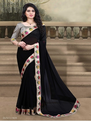 Picture of Wedding & Bridal Georgette EmbroideryBlack Designer Saree