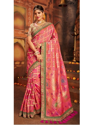 Picture of Pink Silk Embroidery Designer Saree