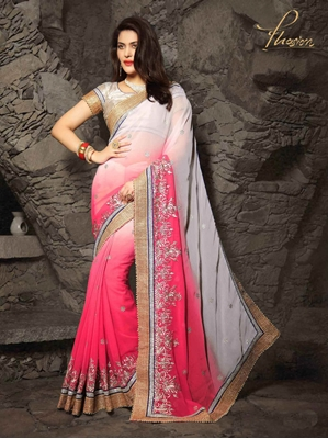 Picture of Pink Chiffon Embroidery Wedding & Bridal Half And Half Saree