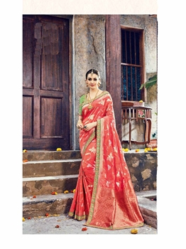 Picture of Red Silk Zari Wedding & Bridal Designer Saree