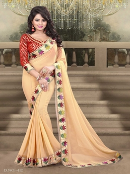 Picture of Wedding & Bridal Georgette EmbroideryPeach Designer Saree