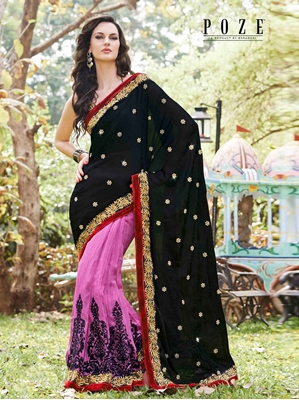 Picture of Black Satin Hand Work Wedding & Bridal Half And Half Saree