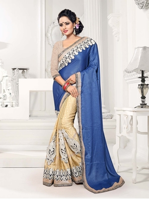 Picture of Blue Silk Embroidery Wedding & Bridal Designer Saree