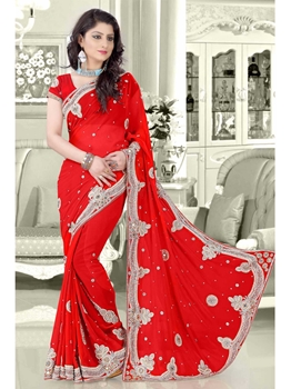 Picture of Red Georgette Multi Wedding & Bridal Designer Saree