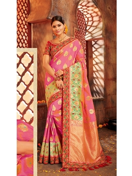 Picture of Peach Silk Embroidery Designer Saree