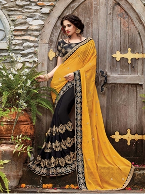 Picture of Yellow Georgette Embroidery Designer Saree Saree