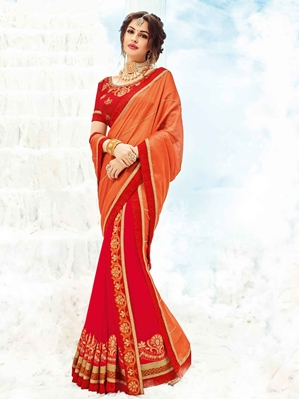 Picture of Orange Chiffon Embroidery Designer Saree Saree