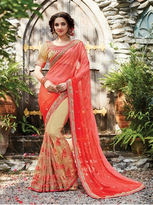 Picture of Red Net Embroidery Designer Saree Saree