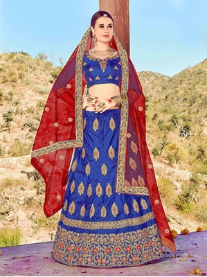 Picture of Blue Silk Multi Wedding & Bridal Designer Lehenga Choli