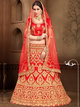 Picture of Red Silk Zari Wedding & Bridal Designer Lehenga Choli