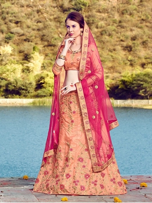 Picture of Peach Silk Multi Wedding & Bridal Designer Lehenga Choli