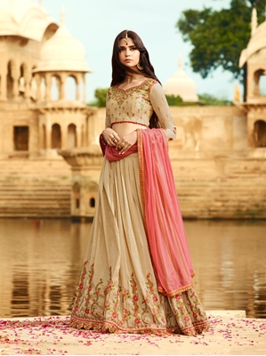 Picture of Beige Silk Zari Wedding & Bridal Designer Lehenga Choli