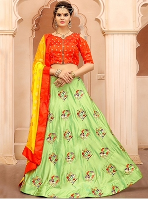 Picture of Green Silk Embroidery Designer Lehenga Choli