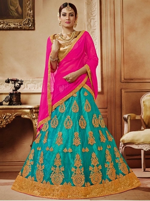 Picture of Blue Net Embroidery Party Designer Lehenga Choli