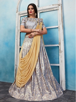 Picture of Silver Jacquard Embroidery Wedding & Bridal Designer Lehenga Choli