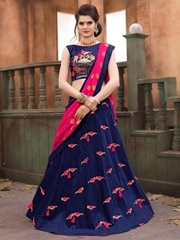 Picture of Blue Silk Embroidery Party Designer Lehenga Choli