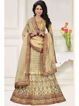 Picture of Beige Net Multi Wedding & Bridal Designer Lehenga Choli