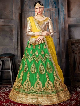 Picture of Green Net Embroidery Wedding & Bridal Designer Lehenga Choli