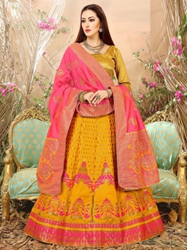 Picture of Yellow Silk Thread Party Designer Lehenga Choli