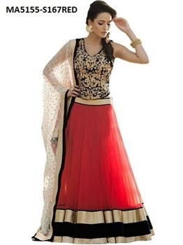 Picture of Red Silk Embroidery Designer Lehenga Choli
