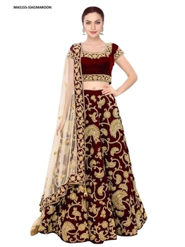 Picture of Maroon Color Velvet Embroidery Lehenga Choli