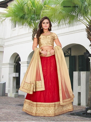 Picture of Red Net Mirror Designer Lehenga Choli