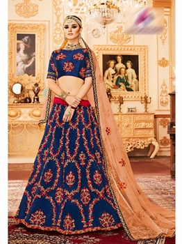 Picture of Blue Silk Zardosi Wedding & Bridal Designer Lehenga Choli