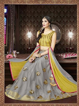 Picture of Grey Net Embroidary Wedding & Bridal Designer Lehenga Choli