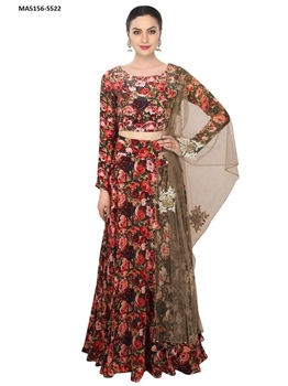 Picture of Black Roses Silk Embroidery Lehenga Choli