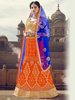 Picture of Orange Net Embroidery Wedding & Bridal Designer Lehenga Choli