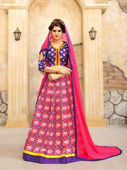 Picture of Pink Silk Printed Ceremony Wedding Lehenga Choli