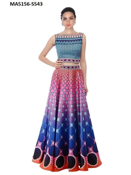 Picture of Sky Blue Silk Embroidery Festive Wear Lehenga Choli