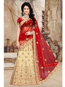 Picture of Beige Net Embroidery Wedding & Bridal Designer Lehenga Choli