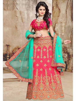 Picture of Pink Net Embroidery Wedding & Bridal Designer Lehenga Choli