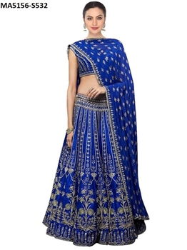 Picture of Royal Blue Color Silk Embroidery Lehenga Choli