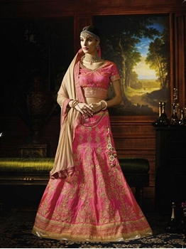 Picture of Pink Silk Embroidery Designer Lehenga Choli