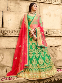 Picture of Green Net Zari Wedding & Bridal Designer Lehenga Choli