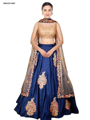 Picture of Silk Blue Color Designer Embroidery Lehenga Choli