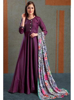 Picture of Purple Silk Solid Ceremony ALine Gown