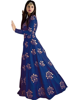 Picture of Blue Silk Embroidery Wedding & Bridal ALine Gown