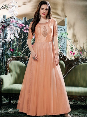 Picture of Peach Net Thread  Party ALine Gown