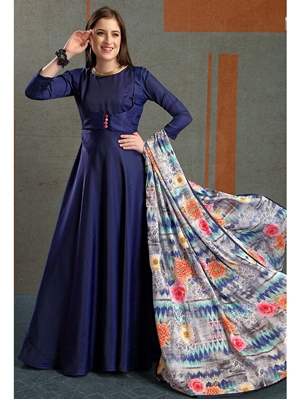 Picture of Blue Silk Solid Ceremony ALine Gown