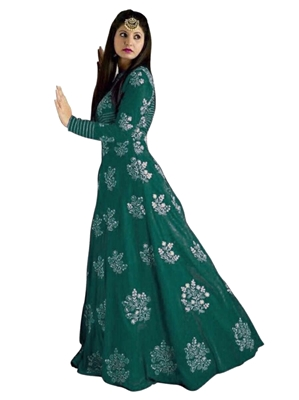 Picture of Green Silk Embroidery Wedding & Bridal ALine Gown