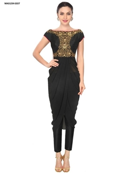 Picture of Black Colour Raw Silk Embroidery Ball Gown